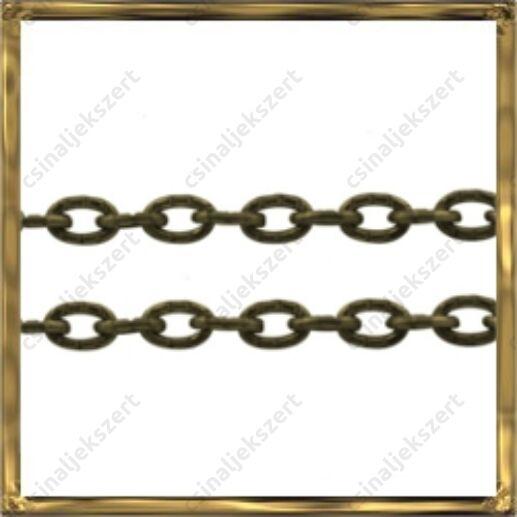 Antikolt bronz kerekded szemű rovátkás lánc 50 cm