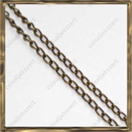 Antikolt bronz extra vékony csavart szemű lánc 50 cm