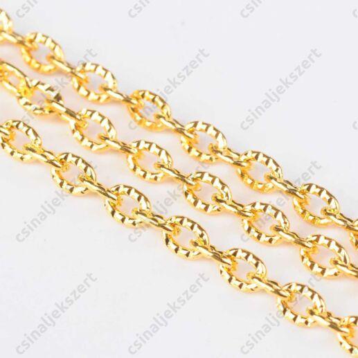Aranyozott kerekded szemű rovátkás lánc 50 cm