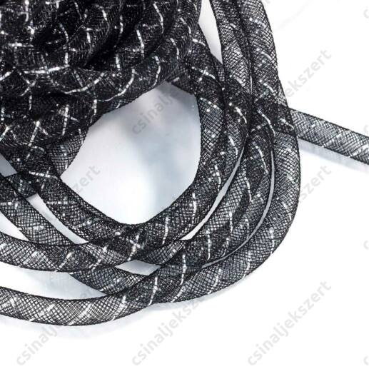 Fekete, ezüsttel szőtt gyöngyháló 8 mm
