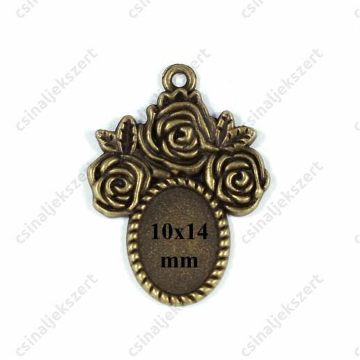 Antikolt bronz színű 10x14 mm rózsás ovális üveglencsés medál alap