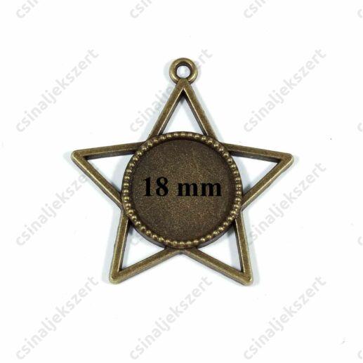 Antikolt bronz színű csillag keretes üveglencsés medál alap 18 mm