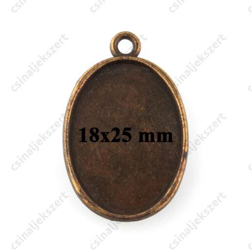 Antikolt bronz színű egyszerű 18x25 mm ovális üveglencsés medál alap