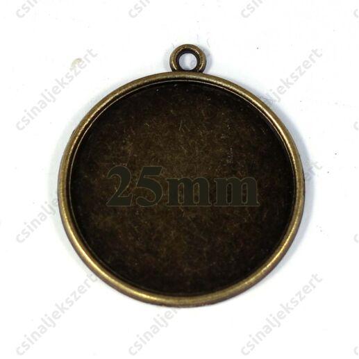 Antikolt bronz színű egyszerű kerek üveglencsés medál alap 25 mm