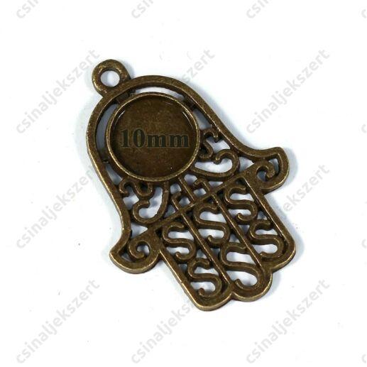 Antikolt bronz színű hamza, fatima keze medál 10 mm