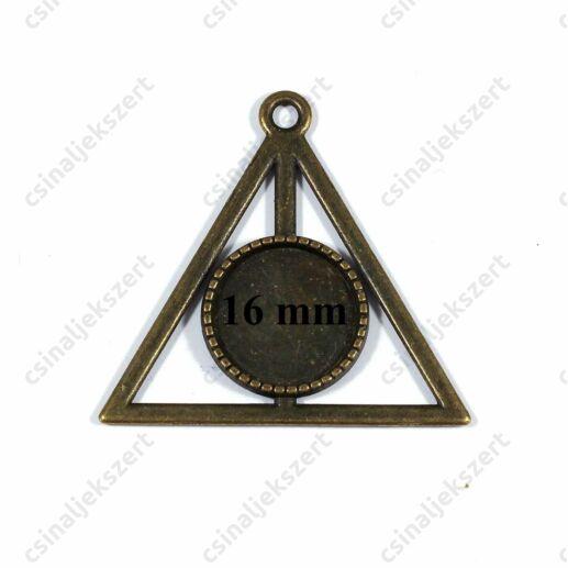 Antikolt bronz színű háromszög kerete, Halál ereklyéi üveglencsés medál alap 16 mm
