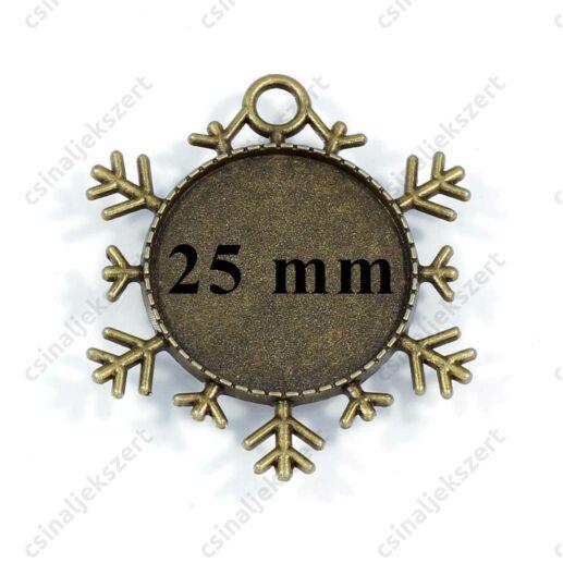 Antikolt bronz színű hópehely üveglencsés medál alap 25 mm