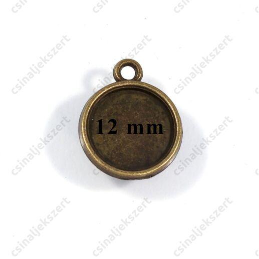 Antikolt bronz színű kerek üveglencsés medál alap 12 mm