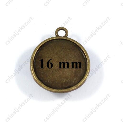 Antikolt bronz színű kerek üveglencsés medál alap 16 mm