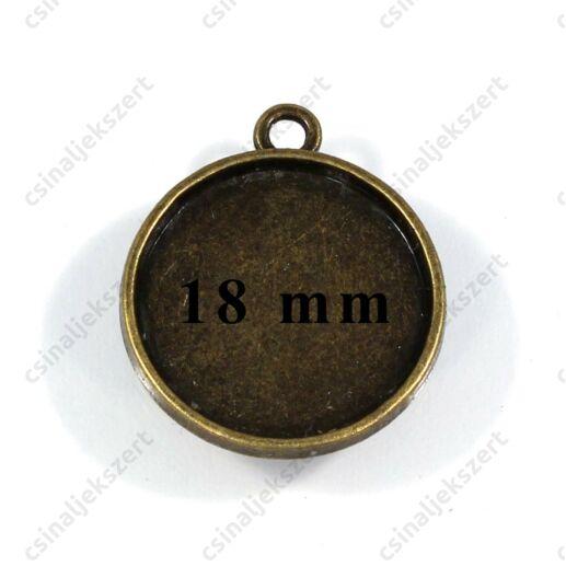 Antikolt bronz színű kerek üveglencsés medál alap 18 mm
