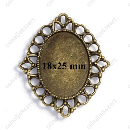 Antikolt bronz színű ovális kapcsoló elem, medál alap 18x25 mm