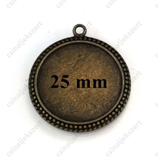Antikolt bronz színű pöttyös szélű kerek üveglencsés medál 25 mm