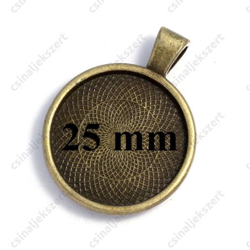Antikolt bronz robosztus medál, kaboson foglalat NIKKELMENTES 25 mm
