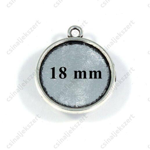 Antikolt ezüst színű kerek üveglencsés medál alap 18 mm