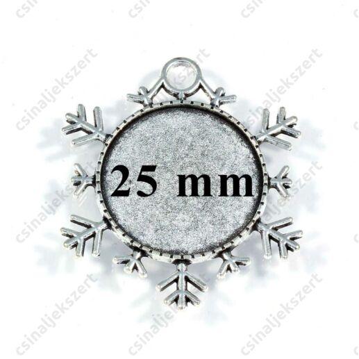 Antikolt ezüst színű hópehely üveglencsés medál alap 25 mm