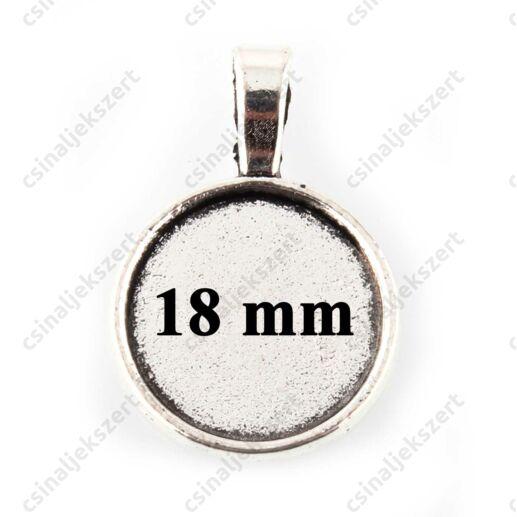 Antikolt ezüst színű hosszú medáltartós 18 mm kerek üveglencsés medál alap