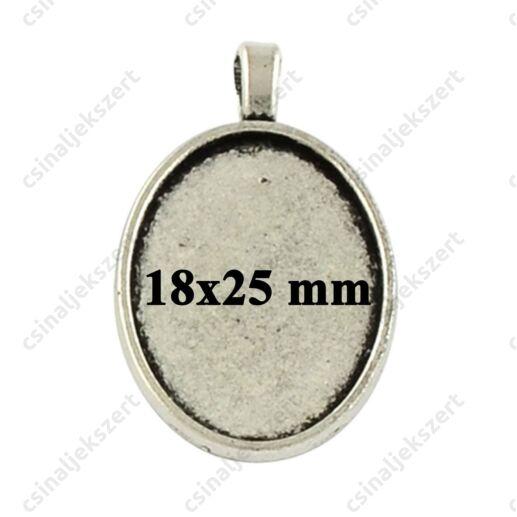 Antikolt ezüst színű, hosszú medáltartós 18x25 mm ovális medál alap