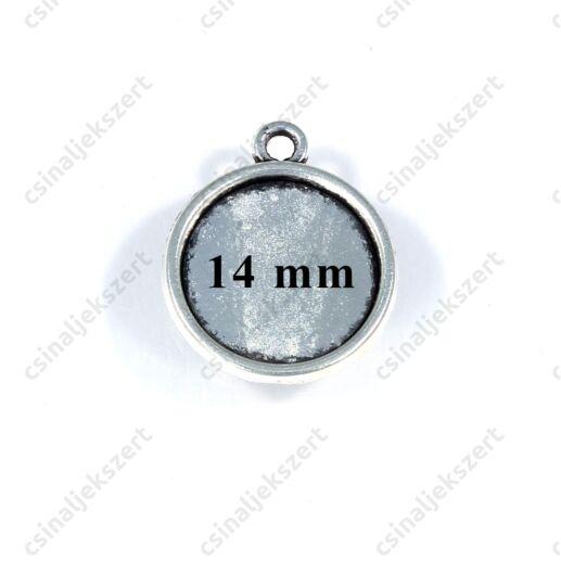 Antikolt ezüst színű kerek üveglencsés medál alap 14 mm