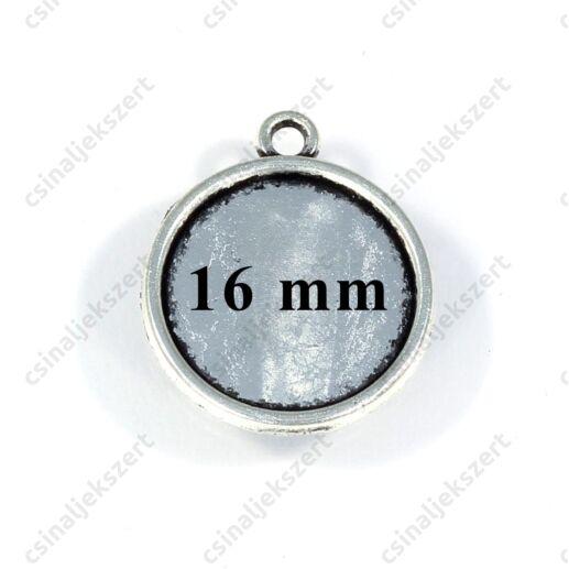 Antikolt ezüst színű kerek üveglencsés medál alap 16 mm