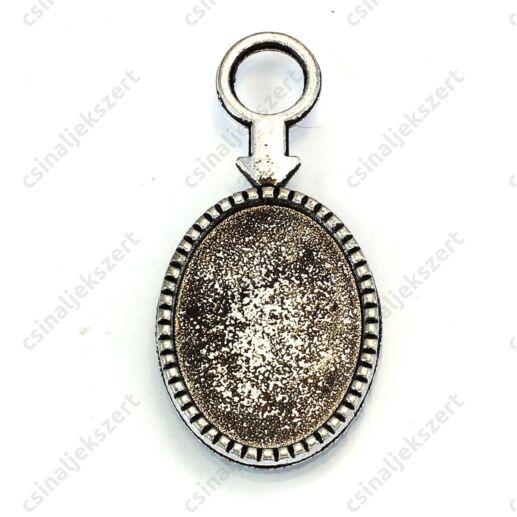 Antikolt ezüst színű nyilas ovális üveglencsés medál alap 18x25 mm