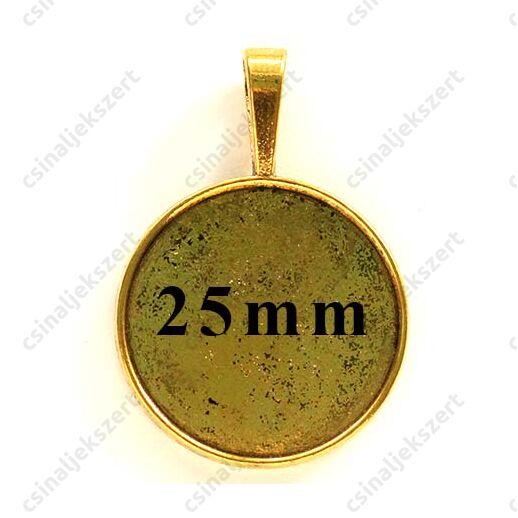 Antikolt arany színű kerek medál 25 mm