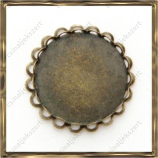 Antikolt bronz színű, réz kerek, dupla hullámos medál, kaboson foglalat