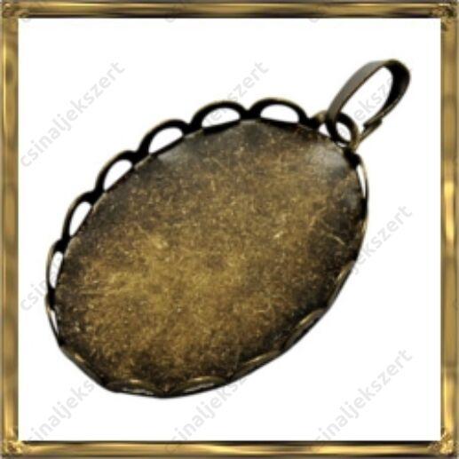 Antikolt bronz színű, réz ovális hullámos szélű kaboson foglalat 19x26 mm