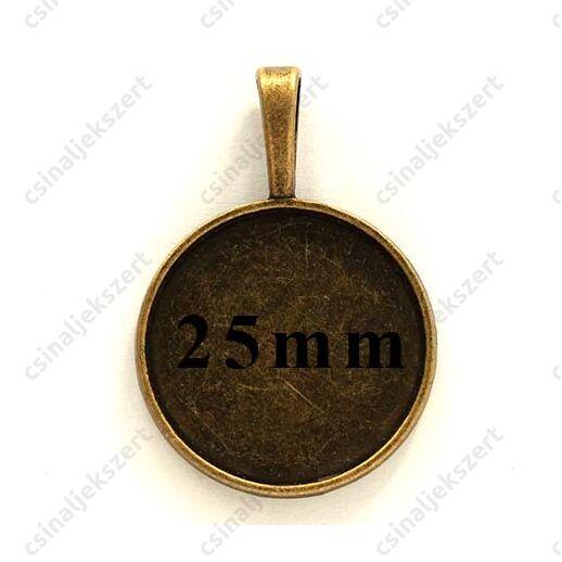 Antikolt bronz színű kerek medál 25 mm