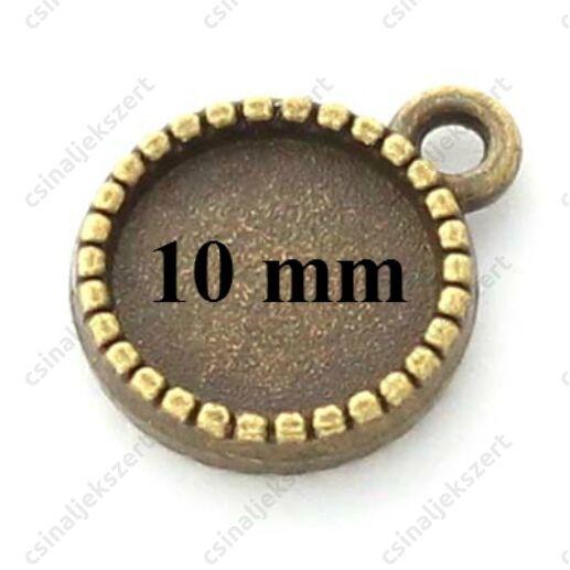 Antikolt bronz színű két oldalas macaron medál 10 mm