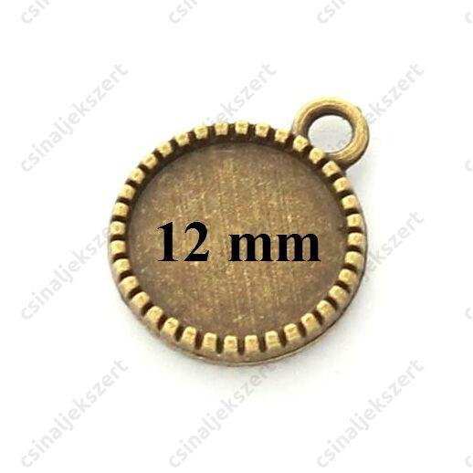 Antikolt bronz színű két oldalas macaron medál 12 mm