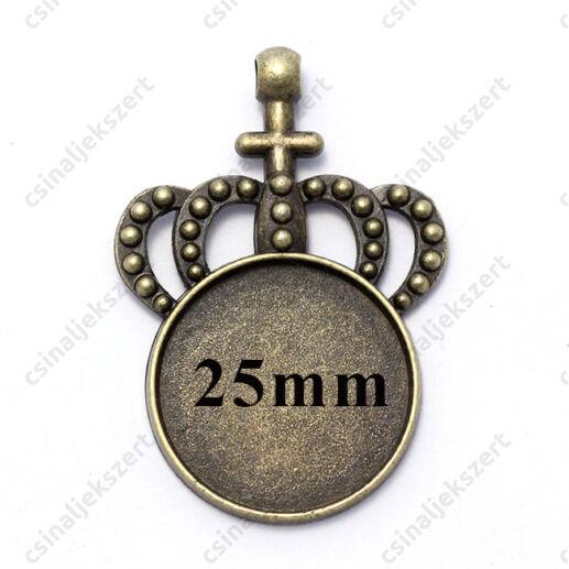Anatikolt bronz színá koronás medál 25 mm
