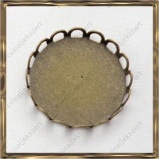 Antikolt bronz színű réz hullámos szélű kaboson foglalat 20 mm