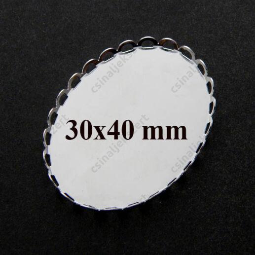 Ródiumos réz ovális hullámos szélű üveglencsés medál alap 30x40 mm