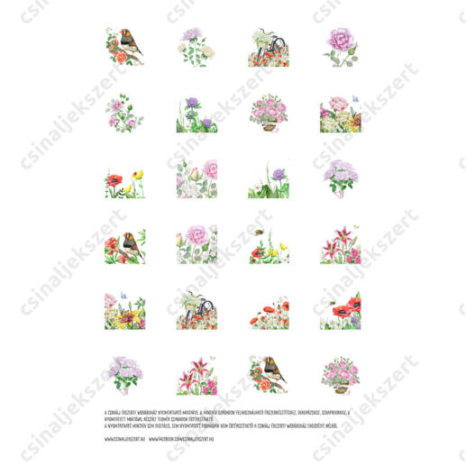Nyomtatható mintaív Romantikus kert 25 mm