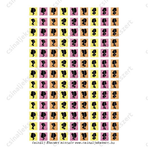 Nyomtatható mintaív Siluette négyzet - 16x16 mm