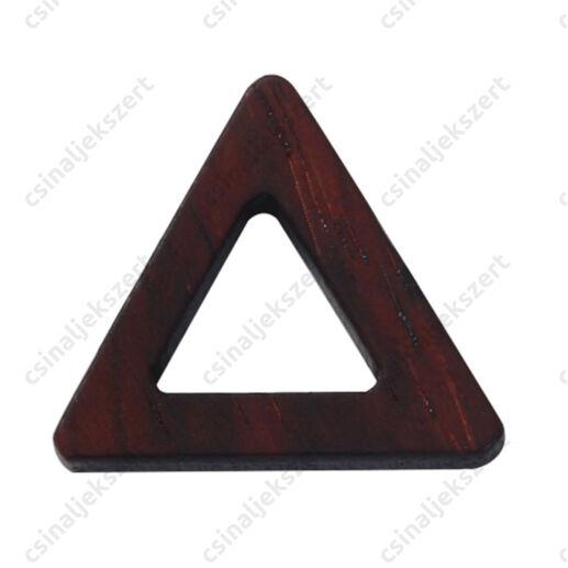 Lyukas közepű szantálfa háromszög medál alap 24x21 mm