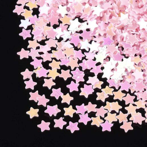 Rózsaszín 3mm csillag alakú szóró flitter