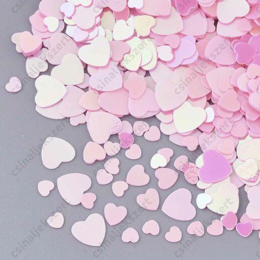 Rózsaszín szív alakú 3-5 mm szóró flitter