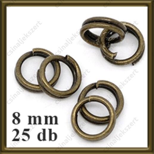 Antikolt bronz dupla szerelőkarika 8 mm