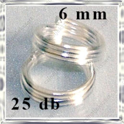 Ezüstözött dupla szerelőkarika 6 mm