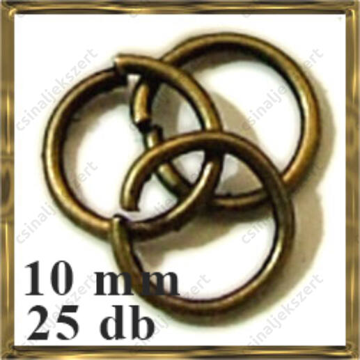 Antikolt bronz szerelőkarika 10 mm