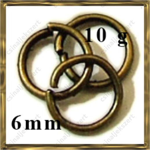 Antikolt bronz szerelőkarika 6 mm