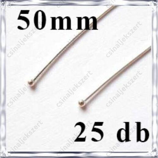 Ezüstözött réz bogyós vékony szerelőpálca 50 mm