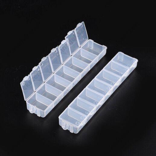 2 db Emelő tetős 7 rekeszes Műanyag 1 soros tárolódoboz
