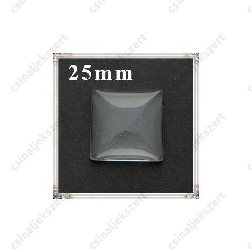 Lapos hátú áttetsző négyzet üveg lencse edzett üvegből 25x25 mm