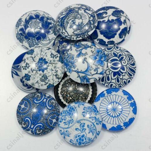 Mintás üveglencse vegyes Kék virágos 25 mm