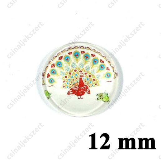 12 mm Pávatoll mintás üveglencse 11