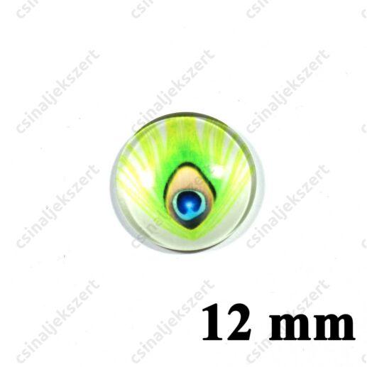 12 mm Pávatoll mintás üveglencse 18