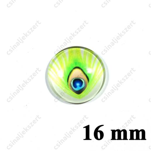 16 mm Pávatoll mintás üveglencse 18