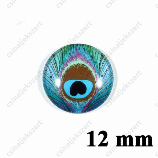 12 mm Pávatoll mintás üveglencse 2